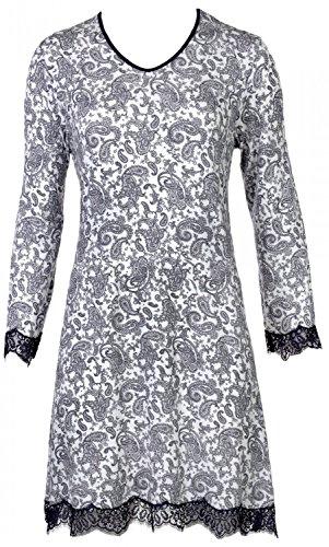 Nina von C. Damen Nachtkleid Nachthemd Spitze romantischer All - Over Druck Paisley, Grösse:L - 40, Farbe:Off White