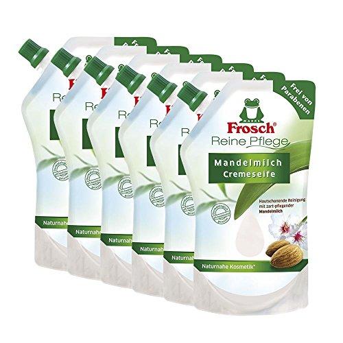 6x Frosch Reine Pflege Mandelmilch Cremeseife 500 ml - Nachfüllbeutel