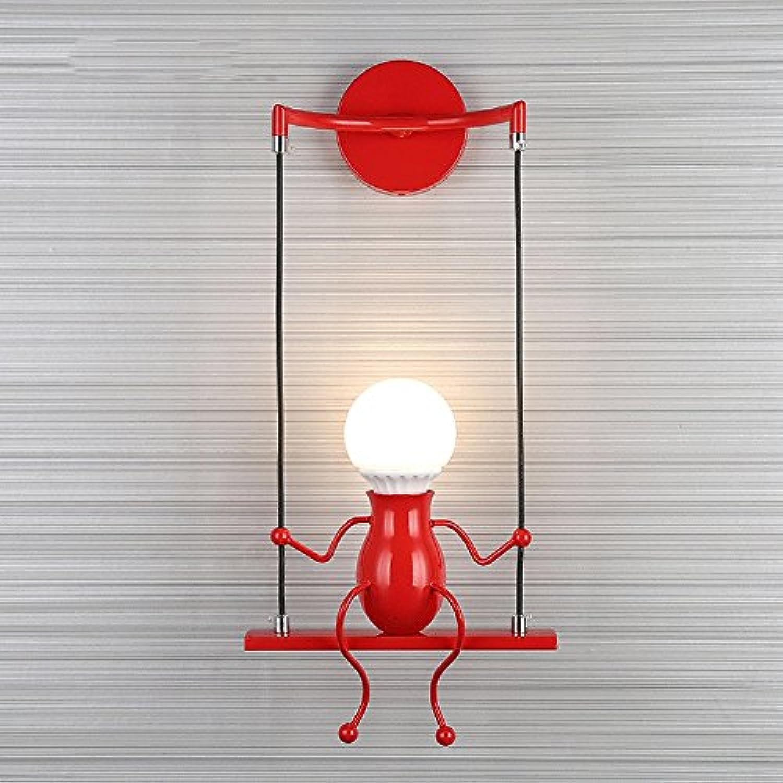 Kreative Eisen Wandleuchten, Nordic LED Schaukel Puppen Kind Junge Mdchen Schlafzimmer Studie Wohnzimmer Wandleuchte Moderne Minimalistic Korridor Kinderzimmer Wandleuchte (Farbe   rot-1)