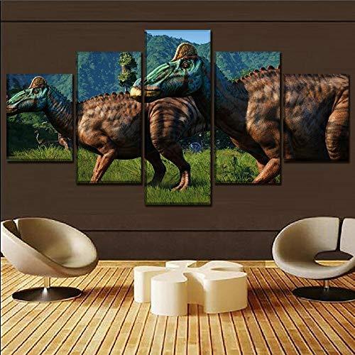 Lona Murales Cuadro moderno en lienzo 5 piezas XXL Impresiones En Jurassic World Evolution Dinosaur Bild Hd Arte De Pared Modulares Sala De Estar Decoración Para El Hogar Cuadros Lienzo 5 Piezas