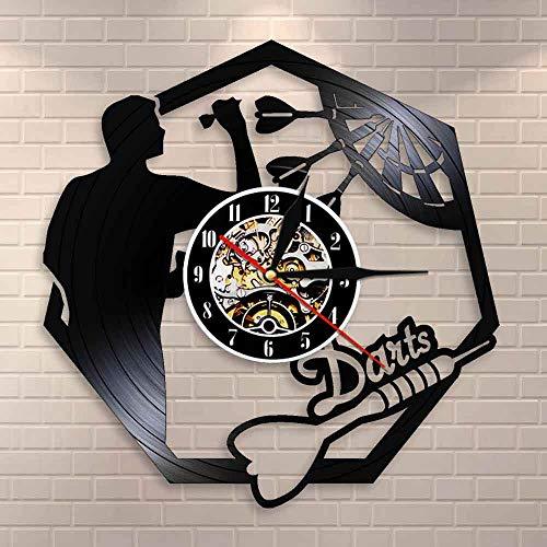 BFMBCHDJ Darts Wandkunst Mann Höhle Spielzimmer Dekoration Moderne Wanduhr Dartscheibe Pub Bar Darts Spiel Nachtclub Vinyl Schallplatte Wanduhr Mit LED 12 Zoll