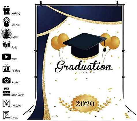Graduation 2019 Backdrop 5x5ft Carnival Party Polyester Photography Background Yellow Black Balloons Trencher Cap Mortarboard Diploma Graduates Ceremony School Studio Photo Prop Decor Poster