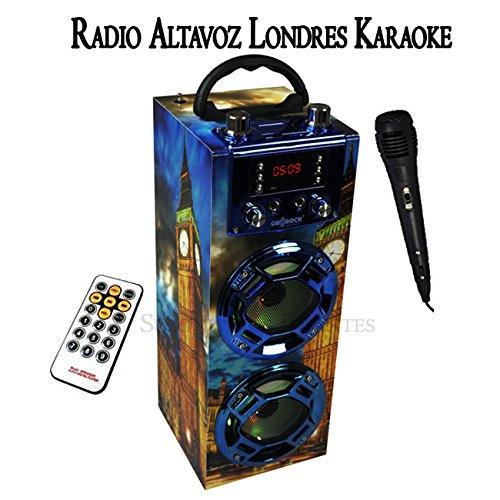 Altavoz London portatil Karaoke. Altavoces con Radio Londres FM microfono USB MP3. Altavoz con Bluetooth conexión al móvil. Batería de Litio Recargable. Incluye Mando a Distancia y micrófono.