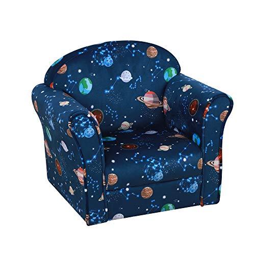 HOMCOM Sillón Infantil Bonito Mini Sofá para Niños Mayores de 12 Meses Ergonómico Patas Antideslizantes Asiento Acolchado Grueso 50x39x44 cm Azul