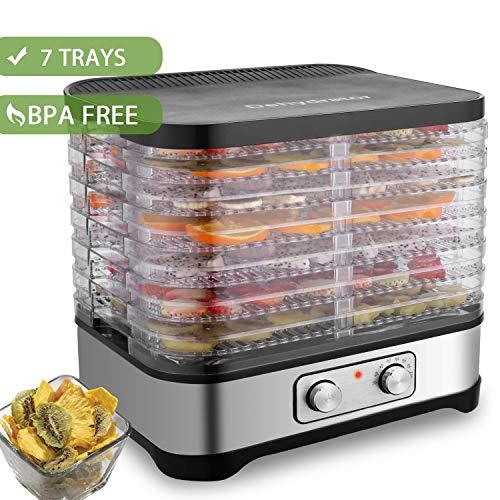 Hopekings Déshydrateur Alimentaire 7 Plateaux avec Thermostat Réglable, Déshydrateur Fruits et Légumes 250W, INOX Gris