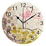 Reloj de pared silencioso,reloj de cocina,Relojes de Cuarzo silencioso Que no Hace tictac,para sala de estar,dormitorios,(Diámetro: 25 cm),Floral Pink Flamingos Wall Feliz día de San Valentín