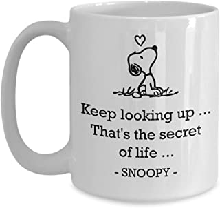 Keep looking up. That's the secret of life Coffee Mug, Snoopy Looking Up Mug, Dog Lovers Gift For Wife, Husband, Mom, Dad, Girlfriend, Boyfriend 15oz