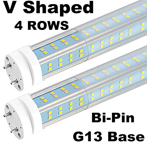 (4-Pack), 4FT T8 LED Tube Light, 5000K Daylight White, Clear Cover, 60W(80-120W Equivalent) 6500LM, V-Shaped, Replacement Fluorescent Bulbs, Ballast Bypass, Dual-end Powered, Bi-Pin G13 Base