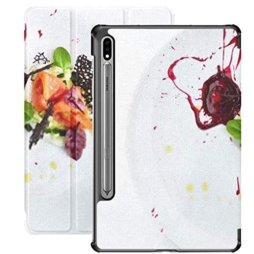 Funda para Galaxy Tab S7 Funda Delgada y Liviana con Soporte para Tableta Samsung Galaxy Tab S7 de 11 Pulgadas Sm-t870 Sm-t875 Sm-t878 2020 Release, Salmon Caviar Greens Pepino en cremoso