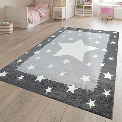 TT Home speeltapijt kinderkamer wit grijs ster patroon rand 3-D effect laagpolig