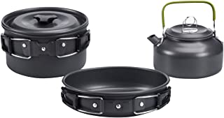 Deacroy Camping Cookware Kit, Portable Aluminum Pot Pan Kettle, Bowl Spoon Kit, Lightweight Outdoor Cooking Set for Hiking...