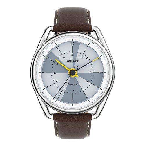 What? Perpetual Kalender Uhr: Hybrid Digital Analog Smart Uhr Armbanduhr, Braun/ Weiß