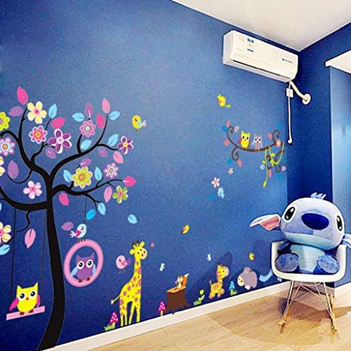 Stickers muraux sticker mural grand arbre coloré plantes de la jungle hiboux sur la branche d'arbre Fleurs murales Squirrel Zebra Giraffe Animal World pour chambres salon pépinière bébé