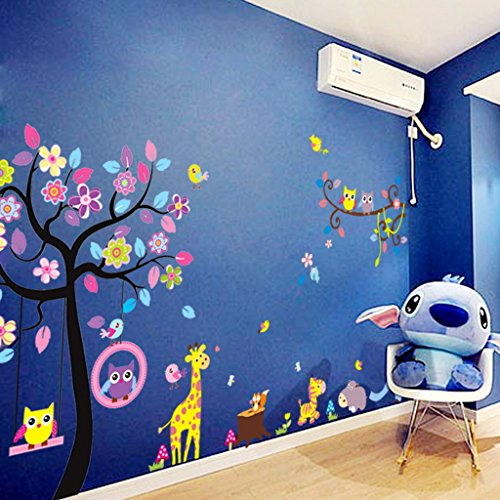 Stickers muraux sticker mural grand arbre coloré plantes de la jungle hiboux sur la branche d'arbre Fleurs murales Squirrel Zebra Giraffe Animal World pour chambres salon pépinière bébé