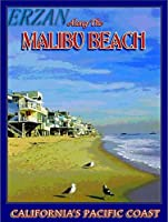 ERZAN30x40cmメタルポスター壁画ショップ看板ショップ看板マリブビーチカリフォルニアビーチ太平洋旅行広告ブリキ看板
