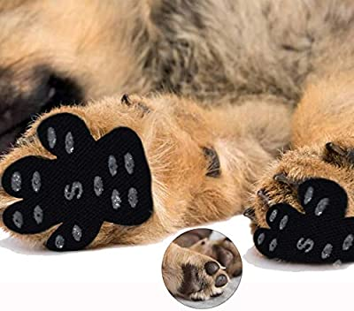 Morezi Paw Protection Anti-Slip Traction Pads with Grip - 24 Pieces (6 Sets) Self Adhesive Disposable Dog Shoes Alternative 6 Sizes for Small Middle Large Dogs - Black - Medium