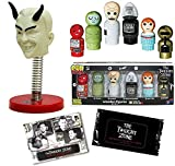Another Dimension Twilight Zone Mini Wooden Figures Gremlin, Kanamit, Talky Tina + Mystic Seer Devil Spring Bobble Head + Black & White Trading Cards Pack 3 Items