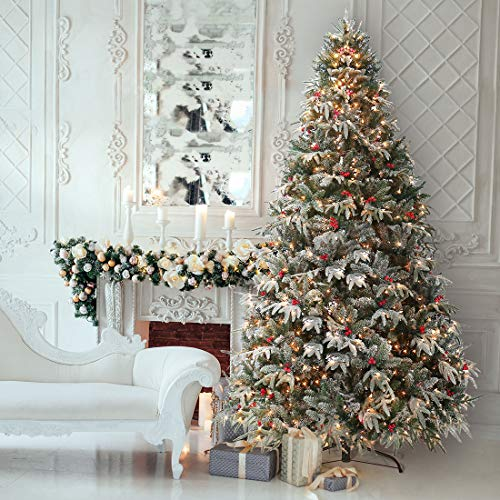 HOMAKER 9ft Pre-Lit Feel Real Christmas Tree, Snow Flocked Artificial Red Berries PE Tree 1000 Clear Lights UL Certificated for Holiday Decor