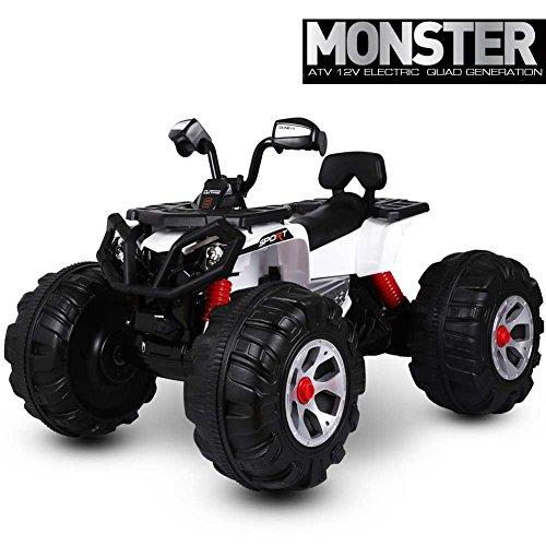 Bakaji Quad eléctrico para niños ATV Monster 12V Blanco con ruedas grandes luces y sonidos, Acelerador A Pedal, velocidad Max 5–8KM/h