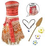 RioRand Vestito Vaiana Moana abito costume Principessa + Vaiana Collana per i capretti delle ragazze(3-4 anni - 120)