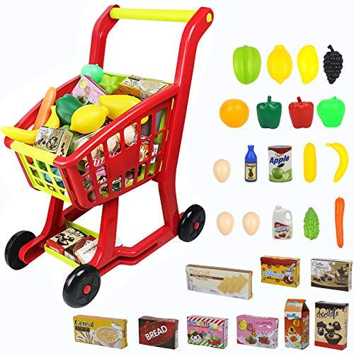Nuheby Chariot Course Enfant Caddie Supermarché,Jeu d'imitation Fruits et Légumes Jouet Exterieur Interieur Jeux...