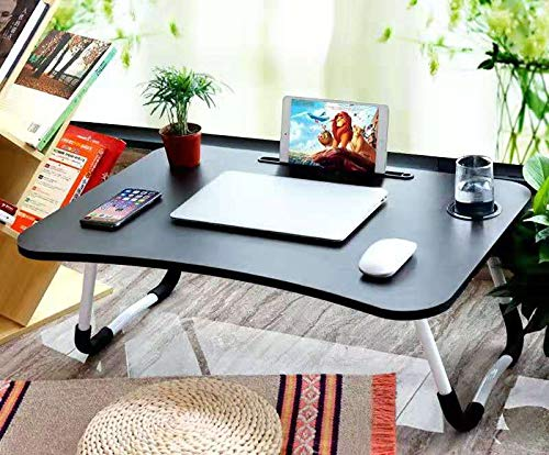 Mod Cons Foldable Bed Study Table Portable Multifunction Laptop Table Lapdesk for Children Bed Foldabe Table Work Office Gaming Home with Tablet Slot & Cup Holder (Black with White Legs)