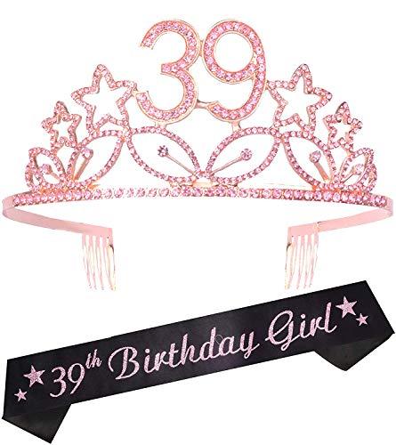 39th Birthday Gifts for Women, 39th Birthday Tiara and Sash Pink, HAPPY 39th Birthday Party Supplies, 39 & Fabulous Glitter Satin Sash and Crystal Tiara Birthday Crown for 39th Birthday Party Supplies