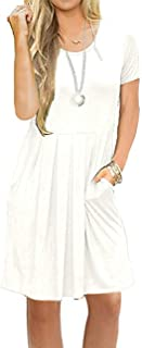 AUSELILY Women's Short Sleeve Pleated Loose Swing Casual Dress with Pockets Knee Length (2XL, White)