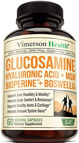 Glucosamine Sulfate with Hyaluronic Acid. Bioperine, MSM, Boswellia. Occasional Joint Pain Relief Supplement. Aids Healthy Inflammatory Response, Anti-Oxidant Properties Pills for Back, Knees, Hands