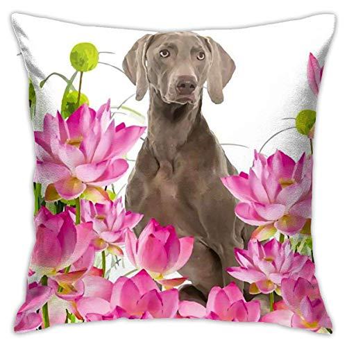 Fundas para cojines Acuarela flores de lotos rosas tropicales con perro labrador Funda de cojín con impresión clásica de algodón suave y poliéster