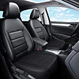 Flying Swallow Edge Wrapping 2pc Car Front Seat Cushion Cover Pad Mat for Auto Supplies Office Chair with PU Leather(Black)