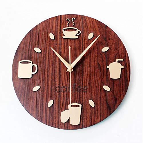 LEIHALA Vintage Holz Kaffeetasse Wanduhr Cafe Bar Wanduhren Pastorale Freizeit Kreative Besteck Uhr