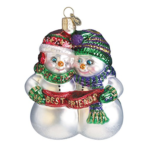 Old World Christmas Glass Blown Ornament with S-Hook and Gift Box, Snowman Collection (Best Friends)