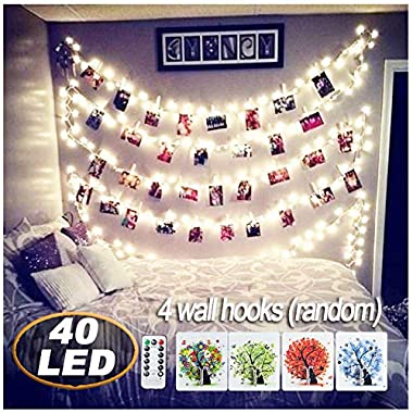 AbeyongD [ Remote&Timer] 40 LED Photo Clips String Lights,18ft USB Powered Fairy String Lights Hanging Photos Pictures Cards Memos, Ideal Gift Bedroom Decoration (Warm White