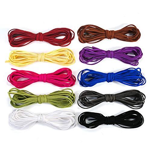 Oumezon 50m leren band ketting, 10 stuks 3 mm, door 5 m leren koord voor armband, halsketting, leren bandjes om te knutselen, doe-het-zelf handgemaakt handwerk, 10 kleuren