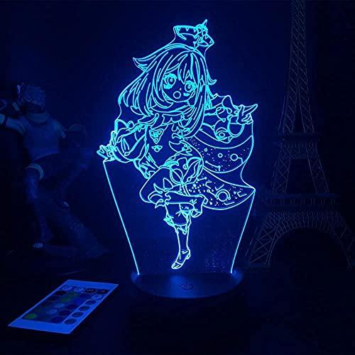 Illusion 3D LED Luz Noche Luz Genshin Impact Figurine Carácter Juego Barbatos RGB Friendly Friend Decoration-Attack en Titan 10_No Remote