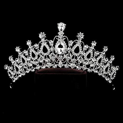 King Boutiques Verschiedene Silber Kristall Braut Tiara Crown Fashion Perle Königin Hochzeit Krone Kopfschmuck Hochzeit Haarschmuck Zubehör Großhandel (Metal Color : C,...