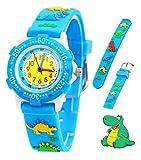 Relojes analógicos para niños Impermeables, Reloj de Pulsera para niños con Correa de Silicona 3D de Dibujos Animados, Juguete para niños pequeños Regalo de cumpleaños/Navidad (Dinosaur)