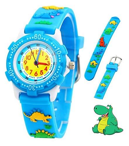 Kinder Analog Armbanduhr, Tägliche Wasserdicht Mädchen Jungen Zeit Lehrer Uhr Kinderspielzeug mit 3D Karton Silikonband für Kleine Kleinkinder Geburtstag/Xmas RSVOM (Dinosaur)