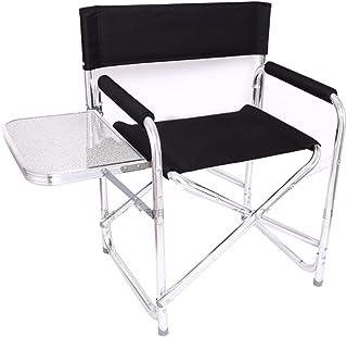 Sillas plegables de camping for adultos con mesa lateral, titular robusta for trabajo pesado director al aire libre portable de la silla for el césped y deportes con la Copa, Heavy Duty Soporta 300 Lb