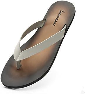 9a5d339fe3ee16 Fengxinzi Men Black Leather Outdoor Thongs Beach Flip Flops Casual Slipper  Shoes Sandals