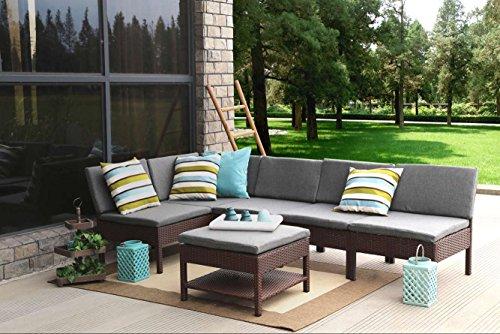 Baner Garden 6 Pieces Outdoor Furniture Complete Patio Cushion Wicker Rattan Garden Corner Sofa Couch Set, Full, Brown