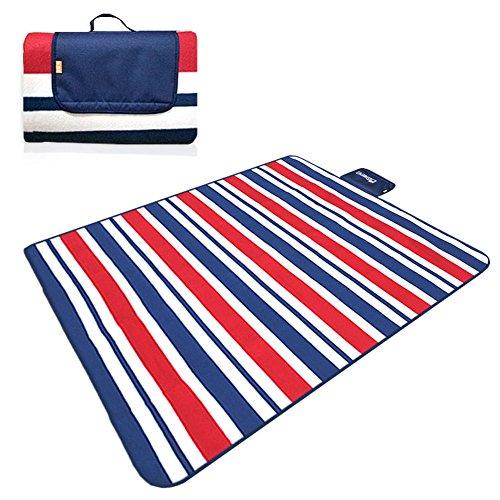 HM&DX Outdoor Wasserdicht Picknickdecken Mat,Fleece Picknickdecke campingdecke Feuchtigkeitsbeständig Tragbare Einkaufstasche Picknick-pad Zum Strand wandern Reisen sie Rasen-D 200x150cm(79x59inch)