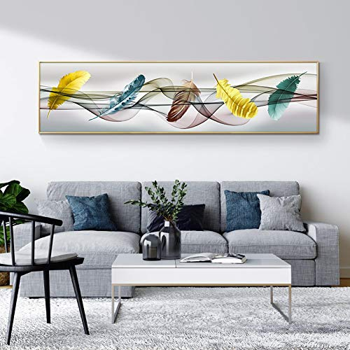 Pintura abstracta moderna de plumas de colores, impresión HD en lienzo, póster, imagen artística de pared para sala de estar, sofá, decoración del hogar-40x150cm sin marco
