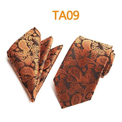 Heren Tie Pocket Handdoek Mode Set Paisley Oranje Jurk Bruiloft Bal Casual Business Party Kleding Match