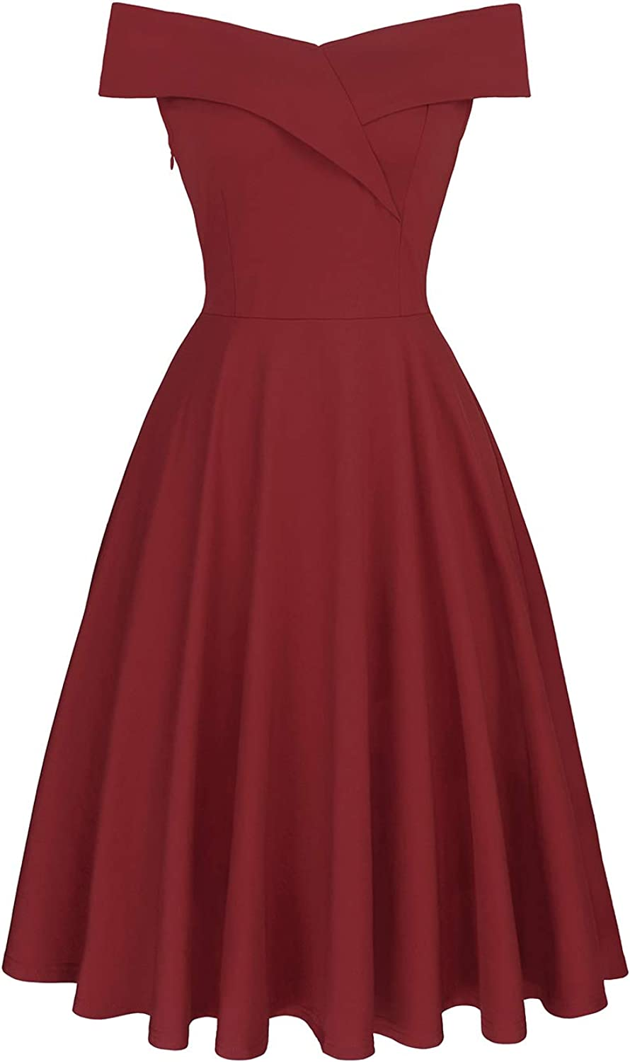 Meiyitong Clothing Women's Summer Vintage Off The Shoulder Dresses Party Cocktail Evening Dresses