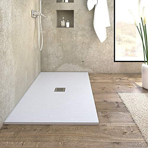 Piatto doccia in marmoresina da design ultrasottile linea CEMENTO colore bianco (170 x 90 h 3)