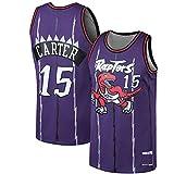 MZAW Carter NO.15 Swingman Vince - Camiseta de baloncesto para hombre, diseño de Raptors bordado, transpirable, Lowry Toronto, color morado