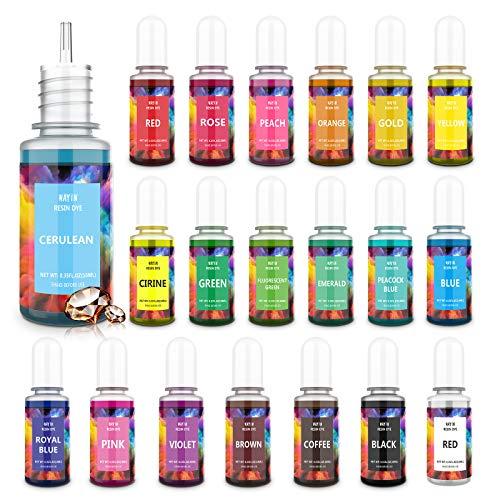 Wayin Pigmentos para Resina Epoxi 20 Colores x 10ml Colorante de Resina Epoxi High Concentrado Tinte Líquido para Fabrica Arte epoxi, Joya, Jabón, Bomba de Baño, Pintura,...