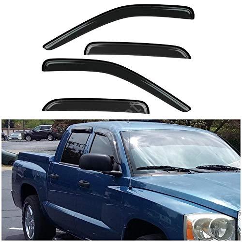 itelleti 4pcs Outside Mount Dark Smoke Sun/Rain Guard Front+Rear Tape-On Auto Window Visors Compatible With 05-11 Dakota Quad/Crew Cab w/ 4 Full Size Doors